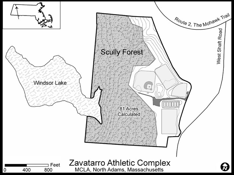 GIS map of MCLA's Zavatarro Athletic Complex, including Scully Forest